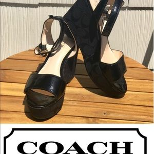 ⭐️ COACH NALENE PATENT LEATHER PLATFORM WEDGES ⭐️